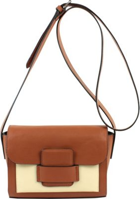 Emilie M Allie Crossbody Cognac Ivory - Emilie M Leather Handbags