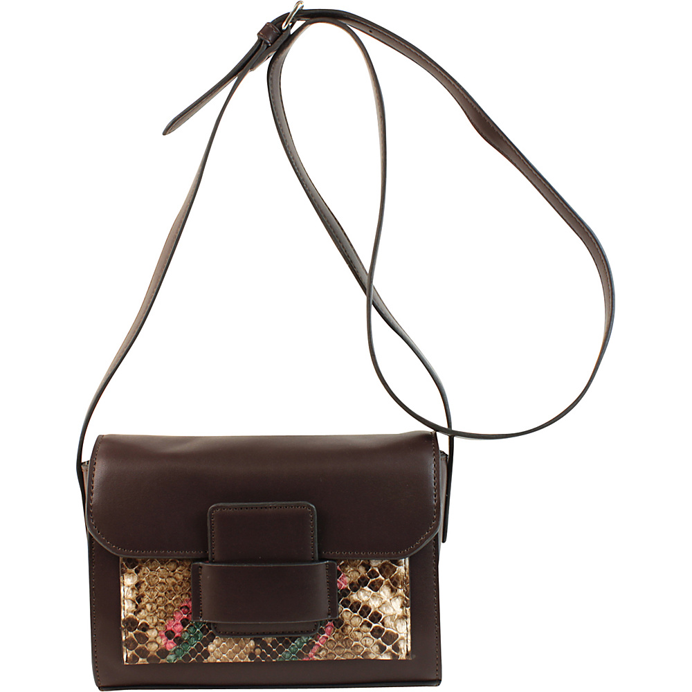 Emilie M Allie Crossbody Dark Brown Python Emilie M Manmade Handbags