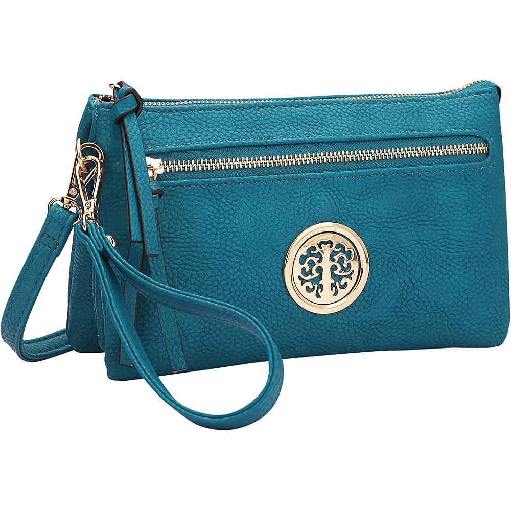 Dasein Gold-Tone Messenger Crossbody Clutch Bag Blue - Dasein Manmade Handbags - Handbags, Manmade Handbags