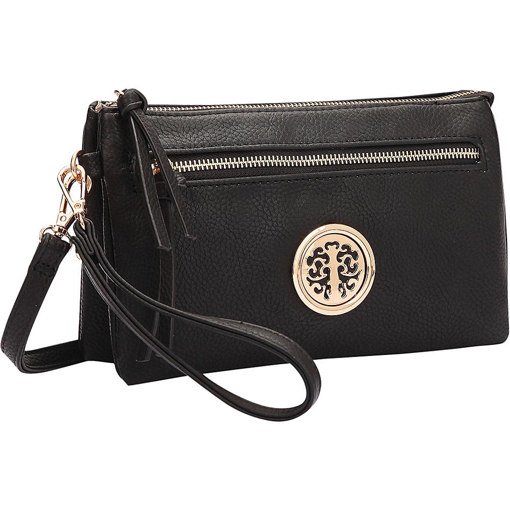 Dasein Gold-Tone Messenger Crossbody Clutch Bag Black - Dasein Manmade Handbags - Handbags, Manmade Handbags