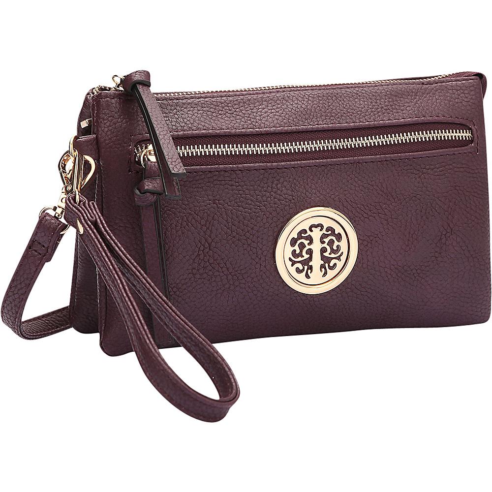 Dasein Gold-Tone Messenger Crossbody Clutch Bag Purple - Dasein Manmade Handbags - Handbags, Manmade Handbags
