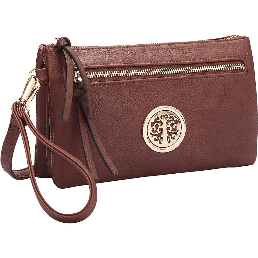 Dasein Gold-Tone Messenger Crossbody Clutch Bag Brown - Dasein Manmade Handbags - Handbags, Manmade Handbags