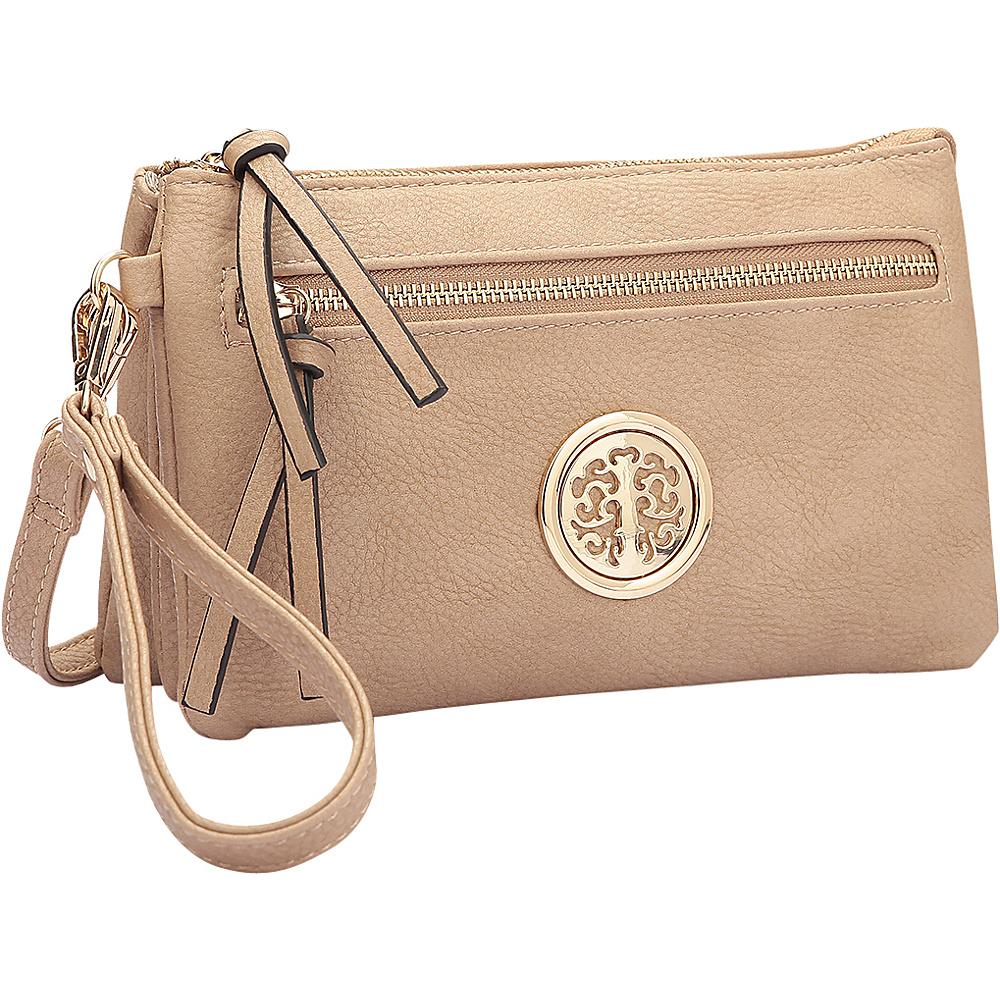 Dasein Gold-Tone Messenger Crossbody Clutch Bag Beige - Dasein Manmade Handbags - Handbags, Manmade Handbags