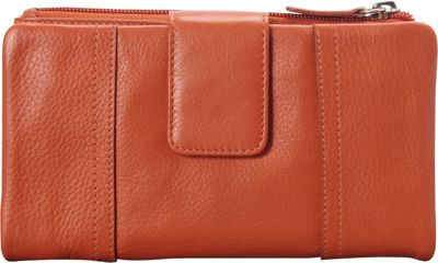 Mancini Leather Goods RFID Secure Collection: Ladies Medium Clutch Wallet Rust - Mancini Leather Goods Women's Wallets