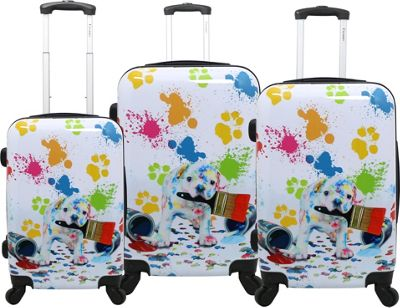 Chariot Paint White 3 Pc Hardside Spinner Set Paint White - Chariot Luggage Sets