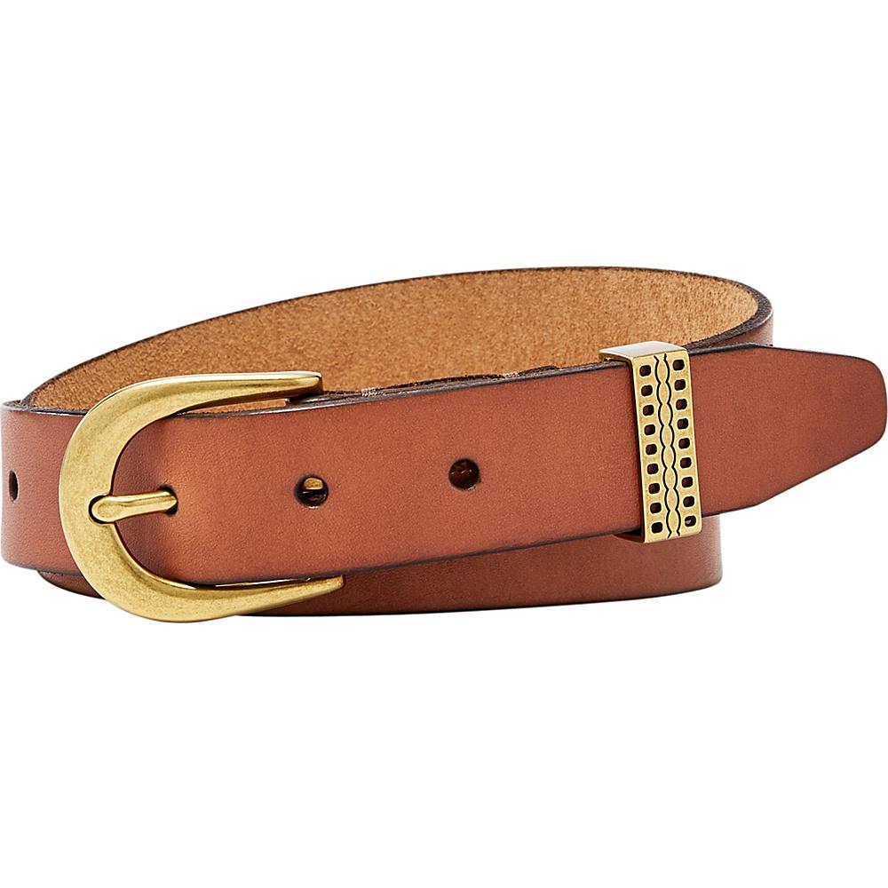 Fossil Emi Embossed Keeper Belt L - Tan - Fossil Belts - Fashion Accessories, Belts