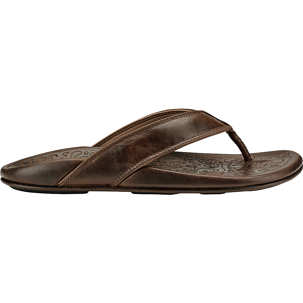 OluKai Mens Waimea Sandal 10 - Dark Wood/Dark Wood - OluKai Mens Footwear - Apparel & Footwear, Men's Footwear