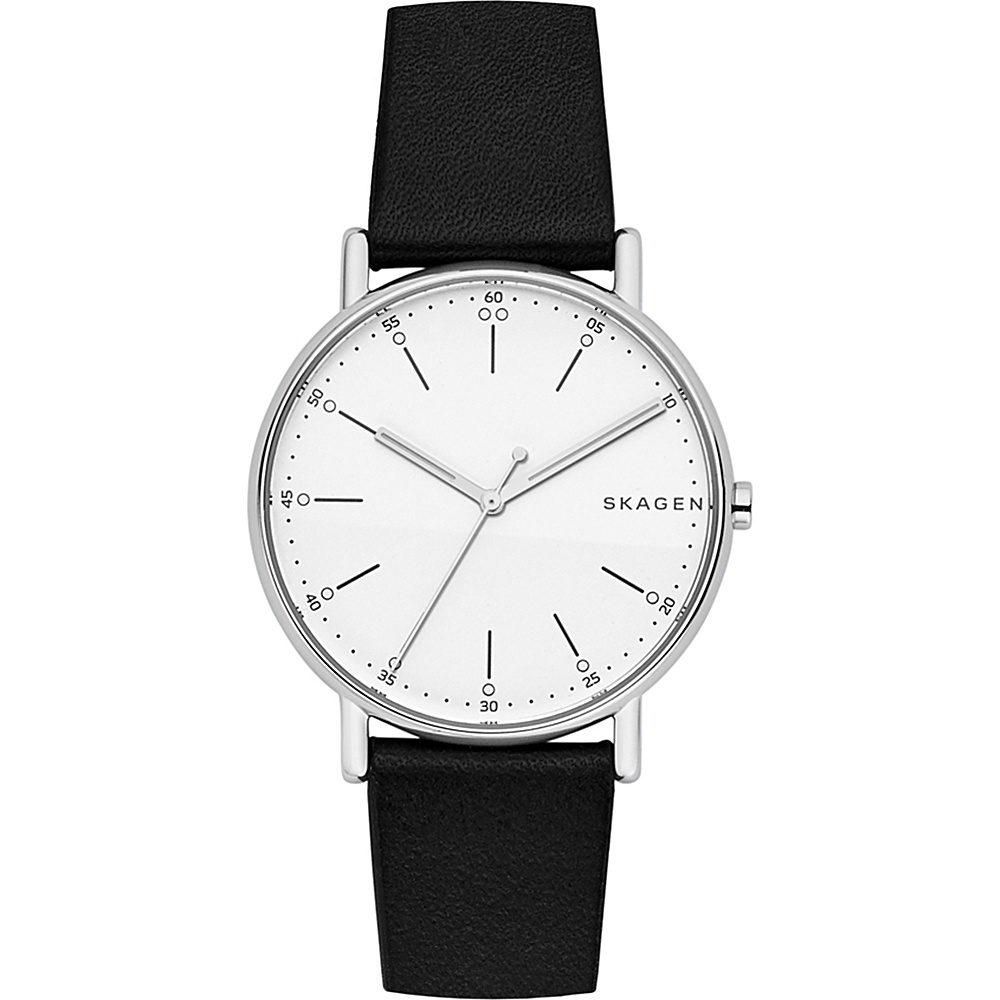 Skagen Signature Leather Watch Black - Skagen Watches