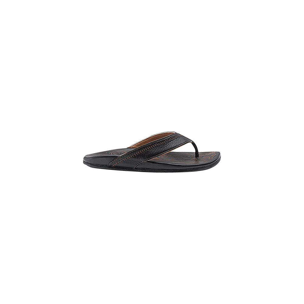 OluKai Mens Hiapo Sandal 7 - Black/Black - OluKai Mens Footwear - Apparel & Footwear, Men's Footwear