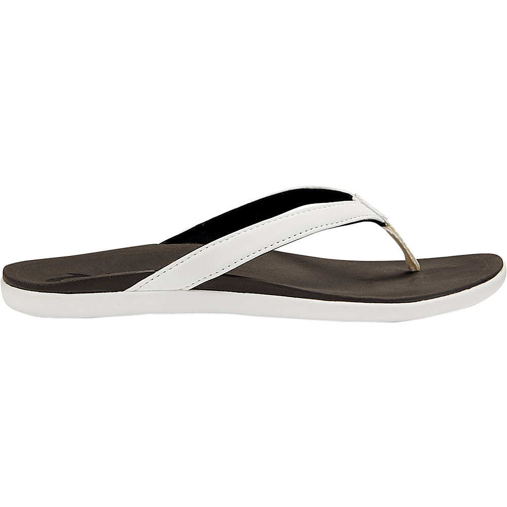 OluKai Womens HoOpio Sandal 7 - White/Black - OluKai Womens Footwear - Apparel & Footwear, Women's Footwear