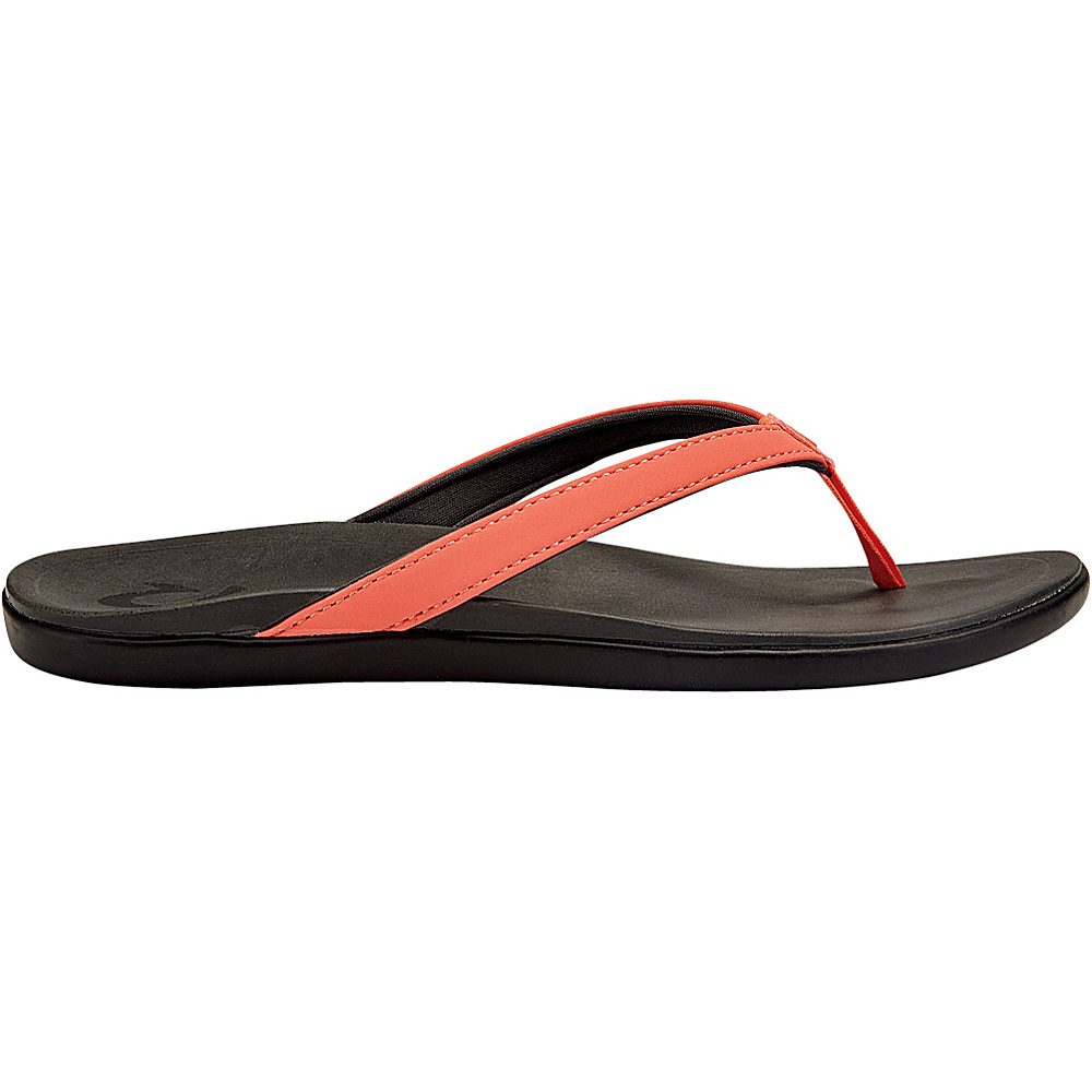 OluKai Womens HoOpio Sandal 8 - Coral/Dark Shadow - OluKai Womens Footwear - Apparel & Footwear, Women's Footwear