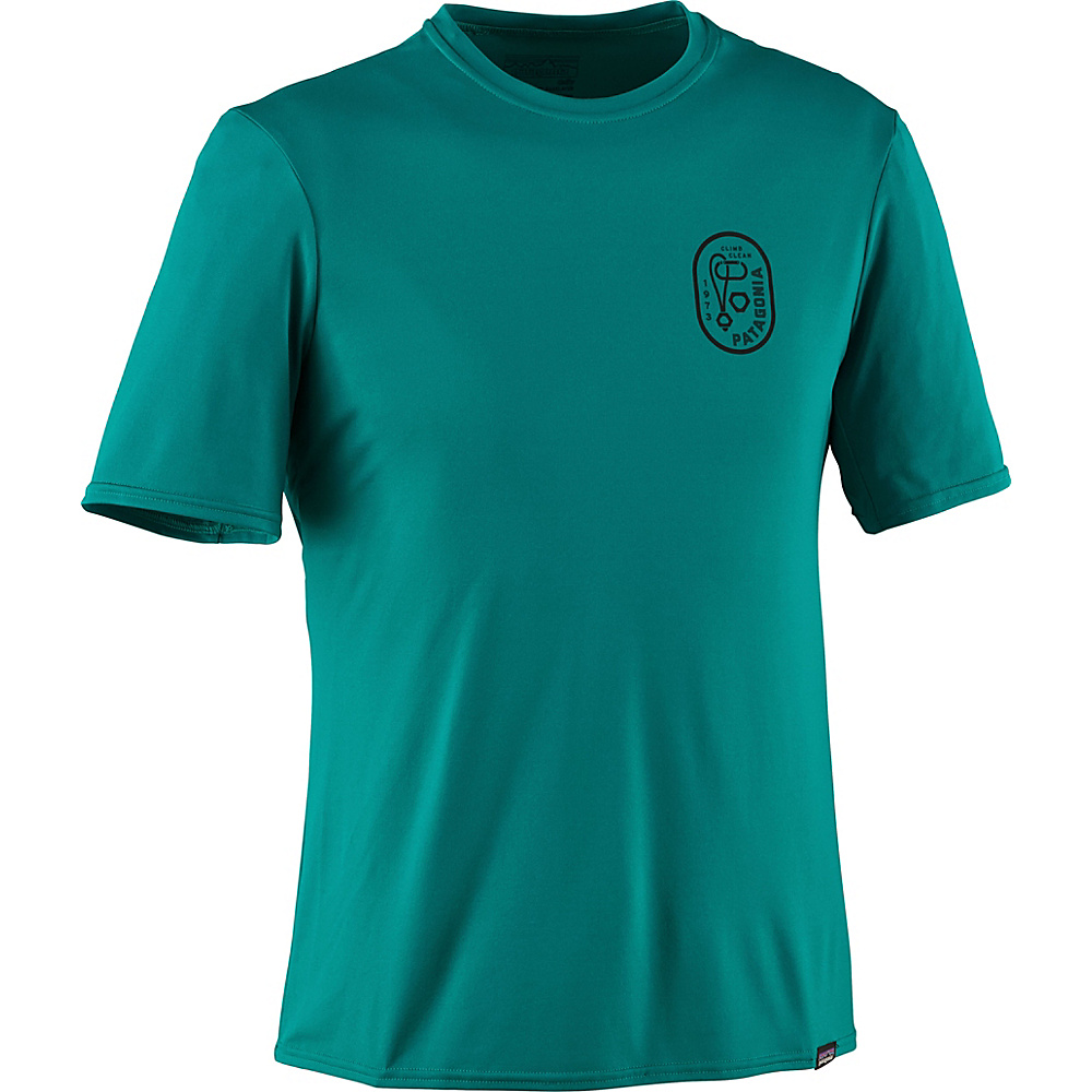 Patagonia Mens Capilene Daily Graphic T-Shirt XS - Climb Clean Rack: True Teal - Patagonia Mens Apparel - Apparel & Footwear, Men's Apparel
