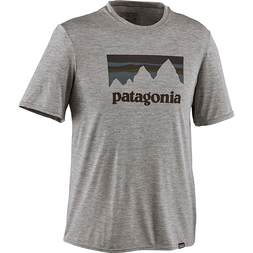 Patagonia Mens Capilene Daily Graphic T-Shirt XS - Shop Sticker: Feather Grey Heather - Patagonia Mens Apparel - Apparel & Footwear, Men's Apparel