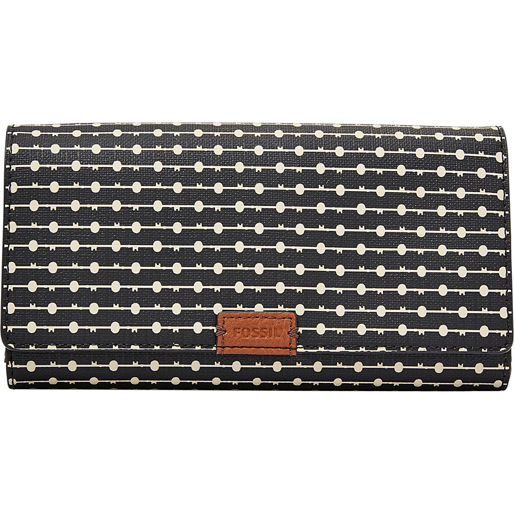 Fossil Emma RFID Flap Clutch Black Stripe - Fossil Womens Wallets - Women's SLG, Women's Wallets