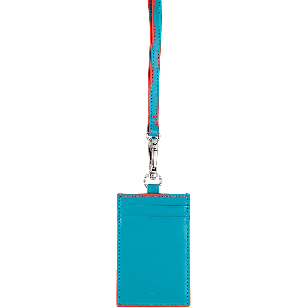 Lodis Audrey Echo Card Case w/ Lanyard Turquoise/Coral - Lodis Womens SLG Other - Women's SLG, Women's SLG Other
