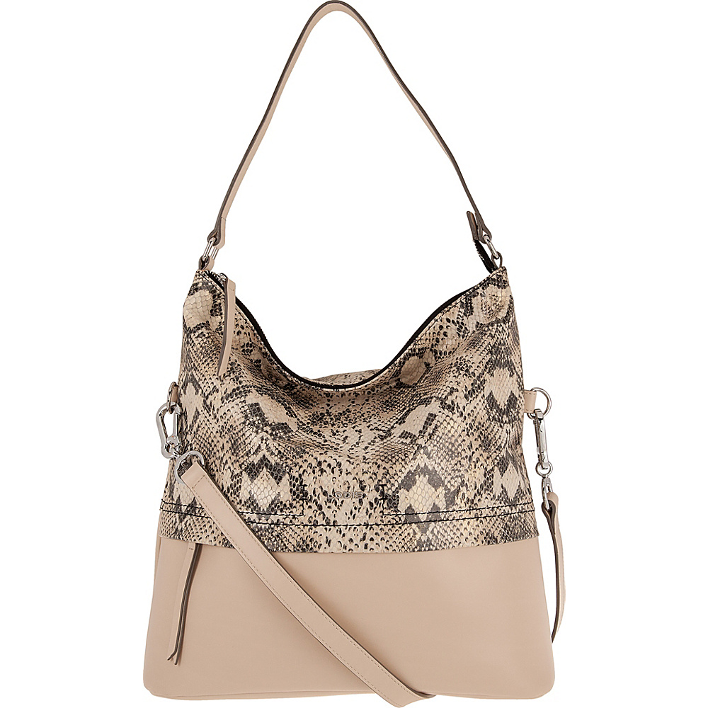 Lodis Kate Exotic Sunny Hobo Black/Taupe - Lodis Leather Handbags - Handbags, Leather Handbags