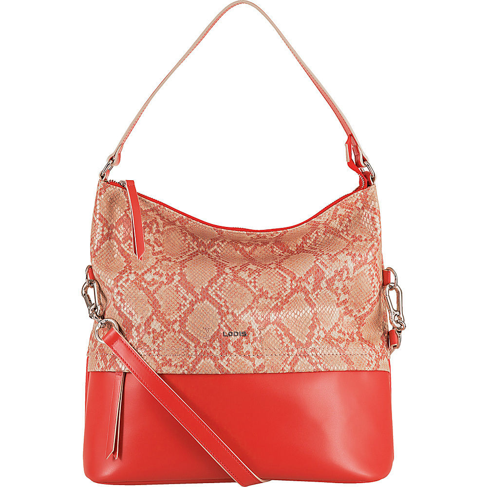 Lodis Kate Exotic Sunny Hobo Pink/Cream - Lodis Leather Handbags - Handbags, Leather Handbags