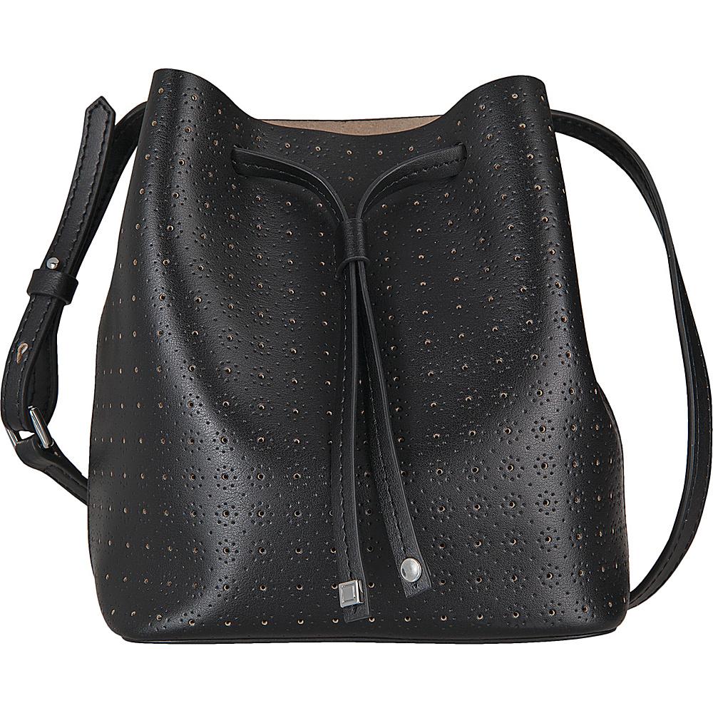 Lodis Blair Perf Blake Small Drawstring Black/Taupe - Lodis Leather Handbags - Handbags, Leather Handbags