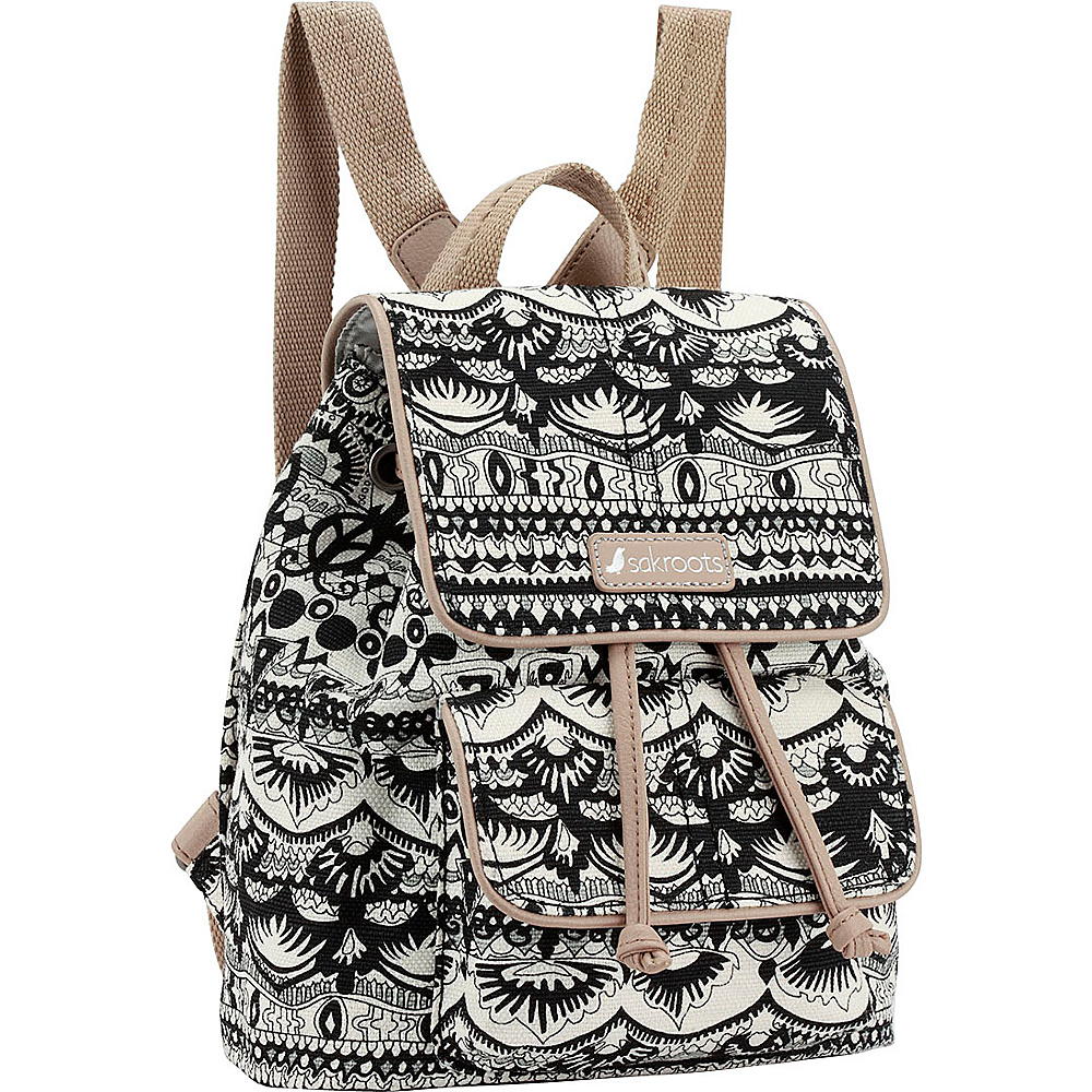 Sakroots Metro Mini Flap Backpack Black & White One World - Sakroots School & Day Hiking Backpacks - Backpacks, School & Day Hiking Backpacks