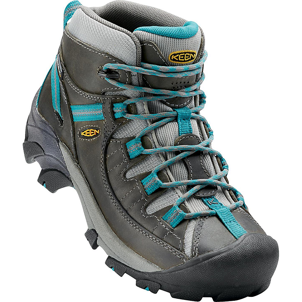 KEEN Womens Targhee II Mid Waterproof Hiking Boot 7 - M (Regular/Medium) - Gargoyle/Caribbean Sea - KEEN Womens Footwear - Apparel & Footwear, Women's Footwear