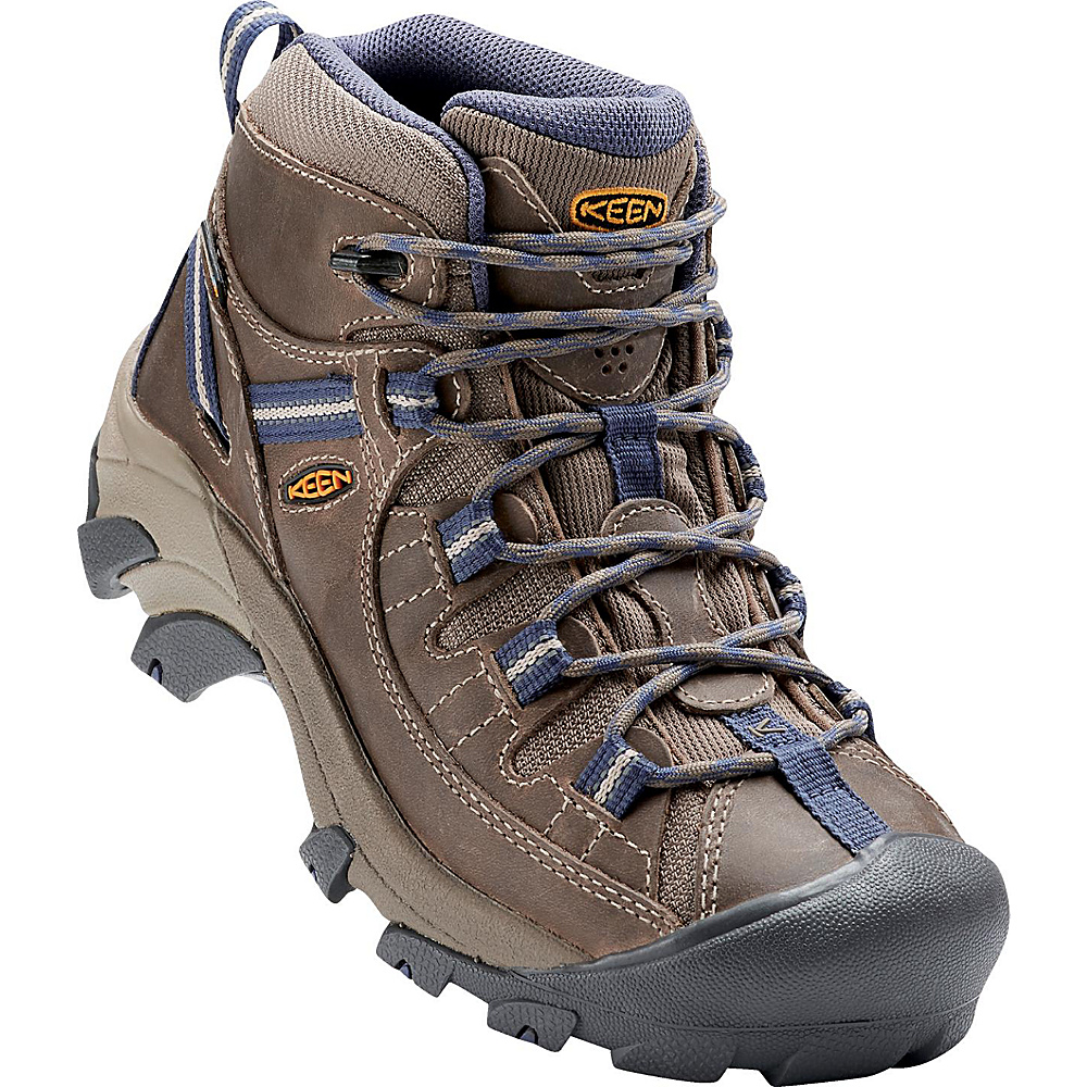 KEEN Womens Targhee II Mid Waterproof Hiking Boot 8 - M (Regular/Medium) - Goat/Crown Blue - KEEN Womens Footwear - Apparel & Footwear, Women's Footwear