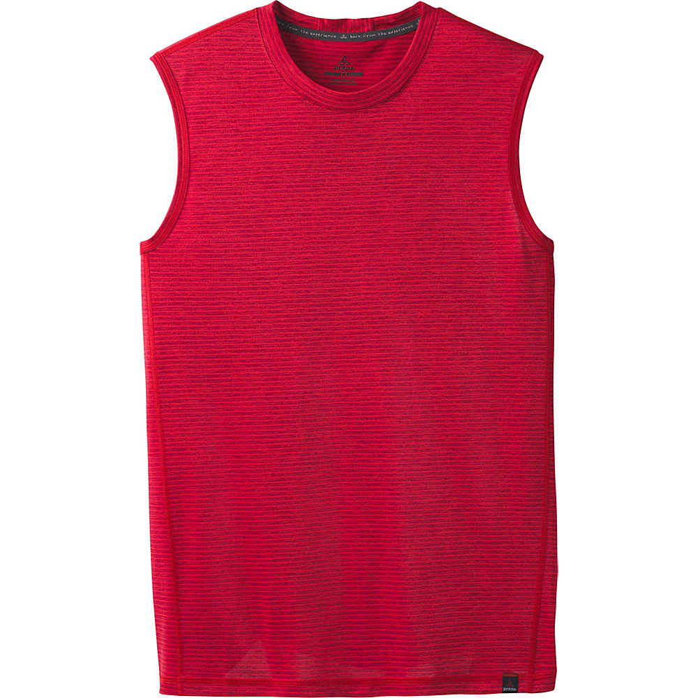 PrAna Hardesty Sleeveless Tank L - Sunstar Red Stripe - PrAna Mens Apparel - Apparel & Footwear, Men's Apparel
