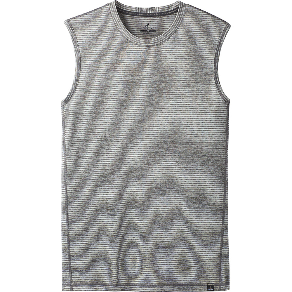 PrAna Hardesty Sleeveless Tank L - Titanium Grey Stripe - PrAna Mens Apparel - Apparel & Footwear, Men's Apparel