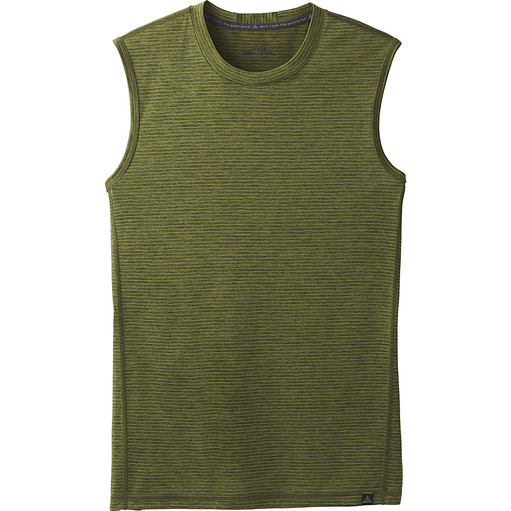 PrAna Hardesty Sleeveless Tank M - Fern Green Stripe - PrAna Mens Apparel - Apparel & Footwear, Men's Apparel