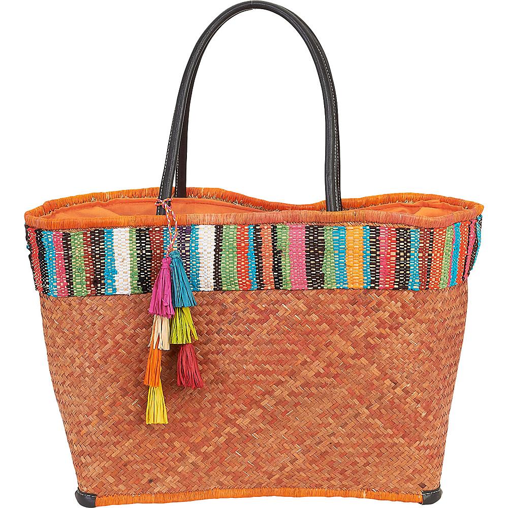 Sun N Sand Raffia Madagascar Handbag Tote Orange - Sun N Sand Gym Bags - Sports, Gym Bags