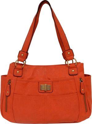 Bueno Veg Tan Satchel Coral Orange - Bueno Manmade Handbags