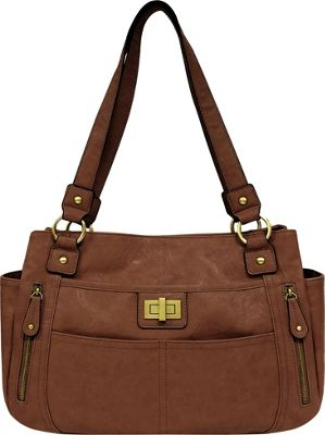 Bueno Veg Tan Satchel Medium Brown - Bueno Manmade Handbags