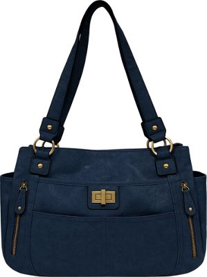 Bueno Veg Tan Satchel Dark Blue - Bueno Manmade Handbags