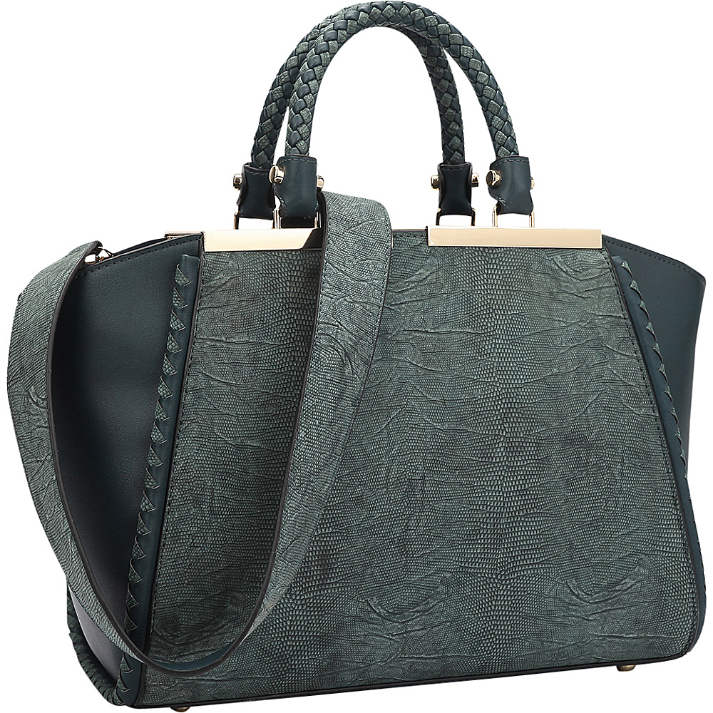 Dasein Two Tone Winged Satchel Deep Green - Dasein Manmade Handbags - Handbags, Manmade Handbags