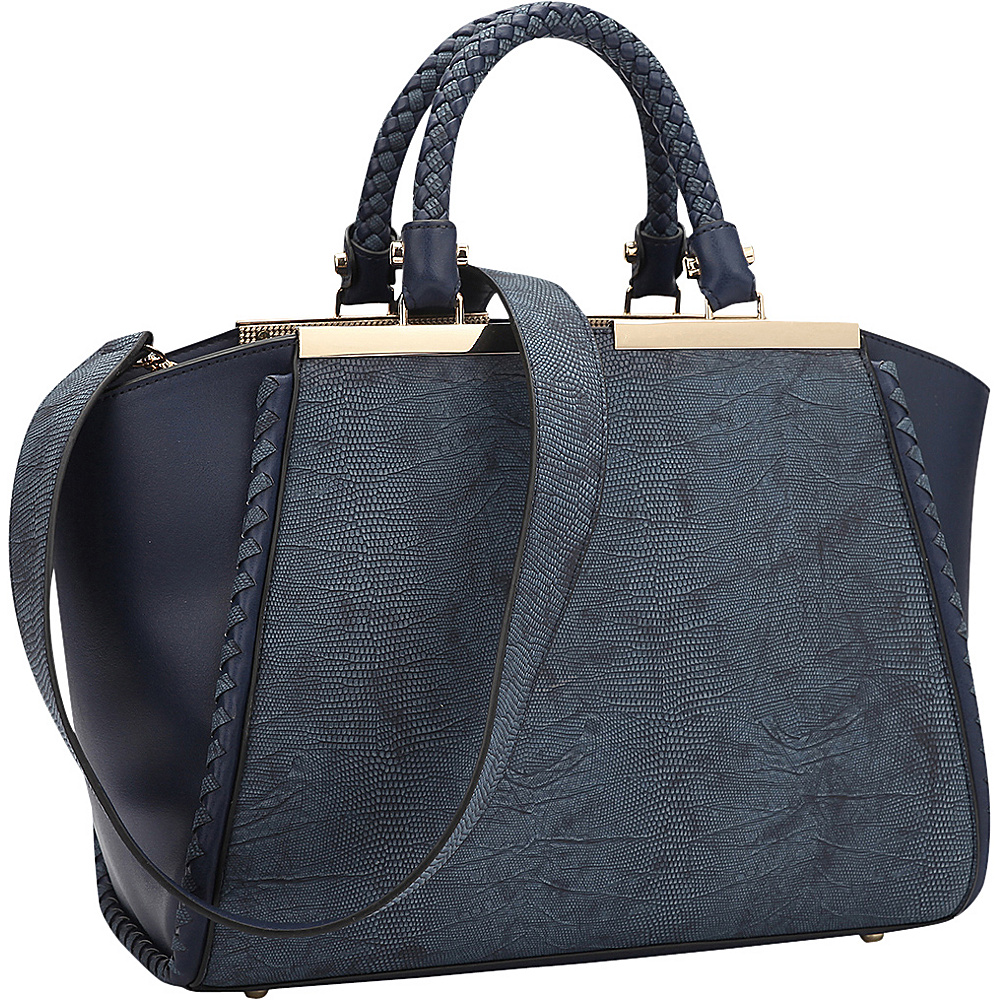 Dasein Two Tone Winged Satchel Navy Blue - Dasein Manmade Handbags - Handbags, Manmade Handbags
