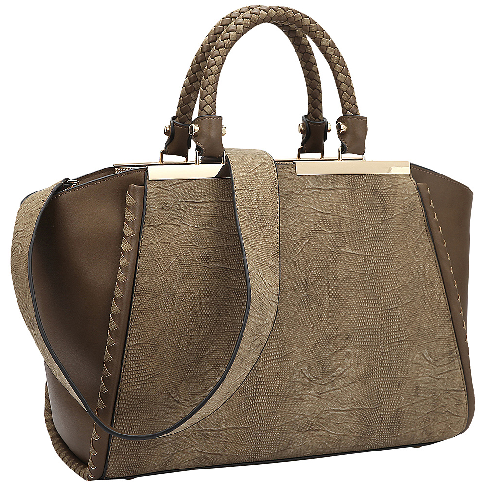 Dasein Two Tone Winged Satchel Light Cofee - Dasein Manmade Handbags - Handbags, Manmade Handbags