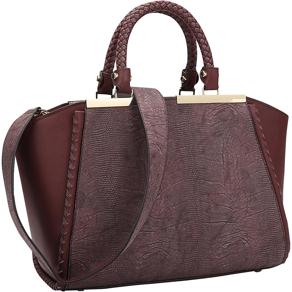 Dasein Two Tone Winged Satchel Wine - Dasein Manmade Handbags - Handbags, Manmade Handbags