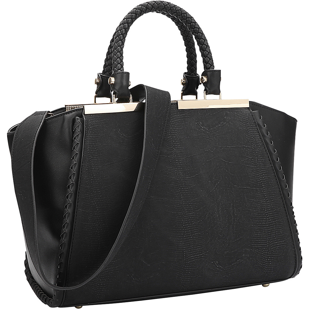 Dasein Two Tone Winged Satchel Black - Dasein Manmade Handbags - Handbags, Manmade Handbags