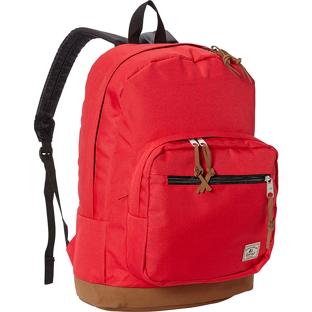 Everest Suede Bottom Daypack with Laptop Pocket Red - Everest School & Day Hiking Backpacks - Backpacks, School & Day Hiking Backpacks