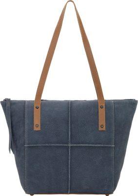 TrueLu The Riley Tote Denim Blue / Tan - TrueLu Leather Handbags
