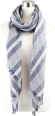Lava Accessories Striped Lurex Weave Scarf Denim - Lava Accessories Scarves