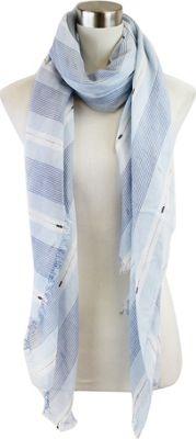 Lava Accessories Striped Lurex Weave Scarf Blue - Lava Accessories Scarves