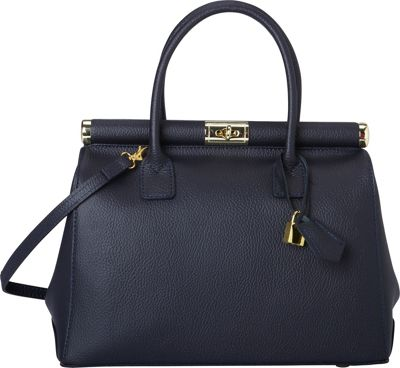 Sharo Leather Bags Elegant Italian Leather Tote and Shoulder Bag Navy Blue - Sharo Leather Bags Leather Handbags