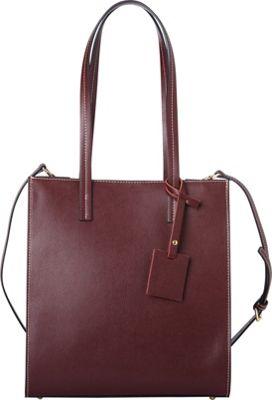 Sharo Leather Bags Classic Burgundy Italian Leather Tote Burgundy Red - Sharo Leather Bags Leather Handbags