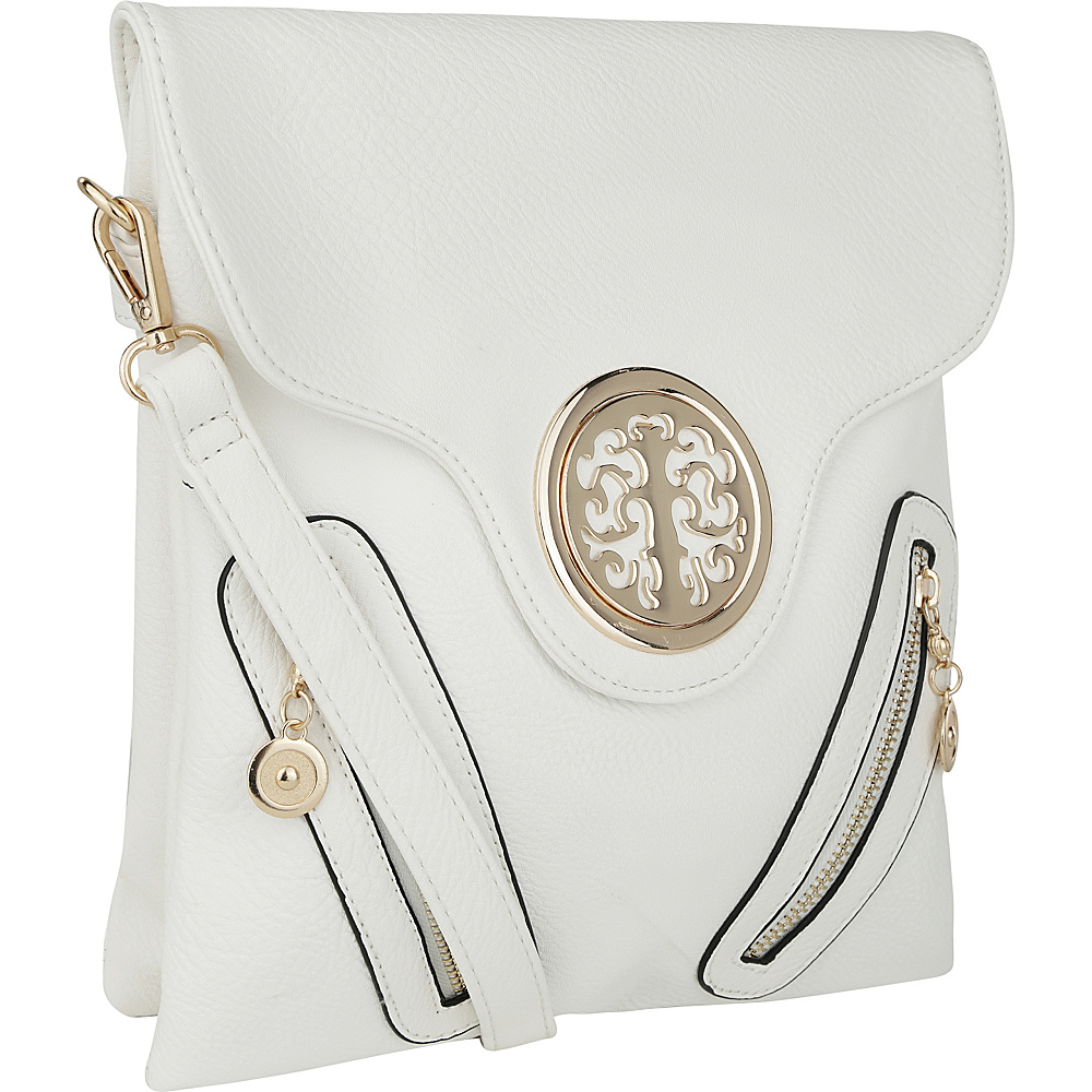 MKF Collection by Mia K. Farrow Chelsea Front Zipped Crossbody Bag White - MKF Collection by Mia K. Farrow Manmade Handbags - Handbags, Manmade Handbags