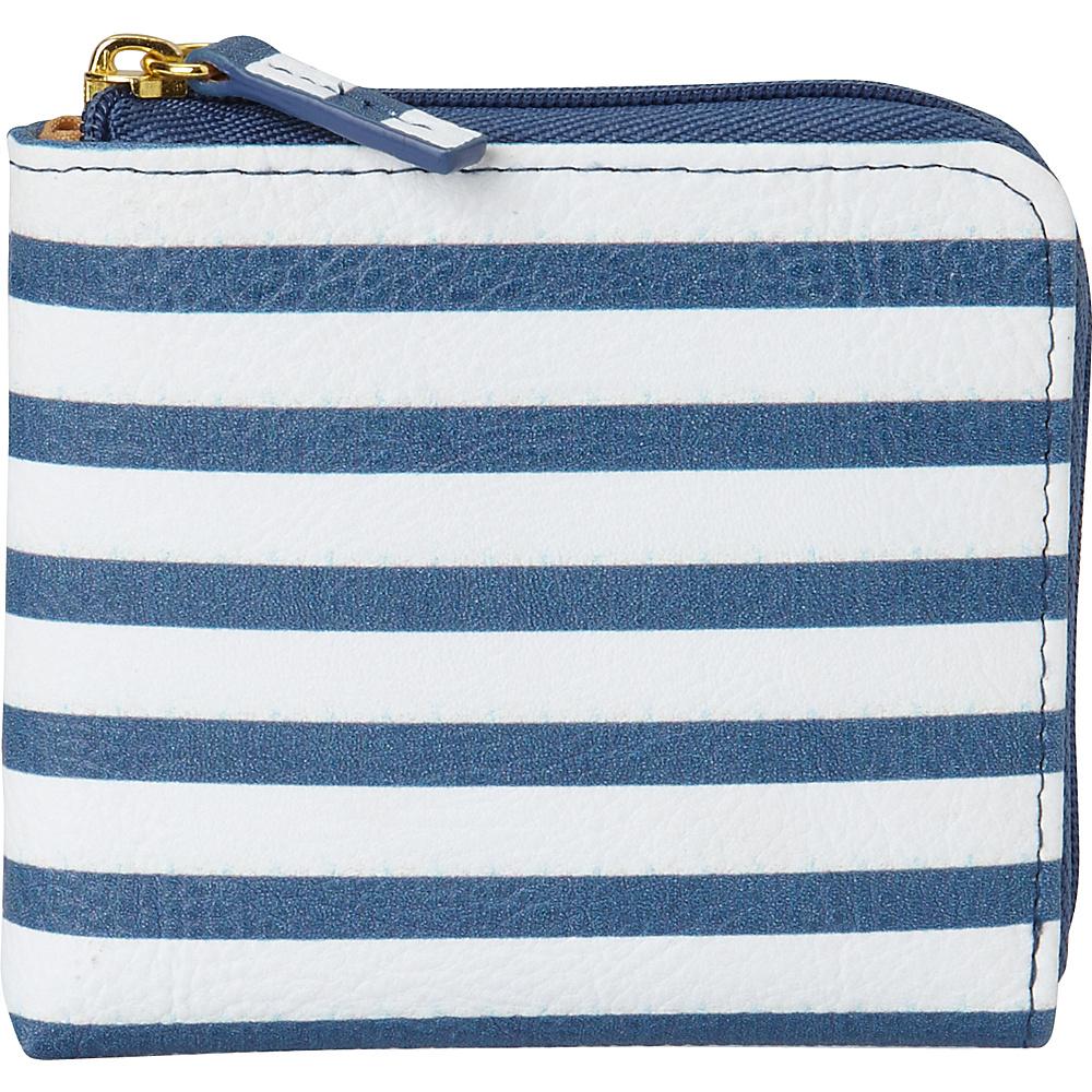 Buxton Americana Pik-Me-Up Mini L-Zip Blue Stripe - Buxton Womens Wallets - Women's SLG, Women's Wallets