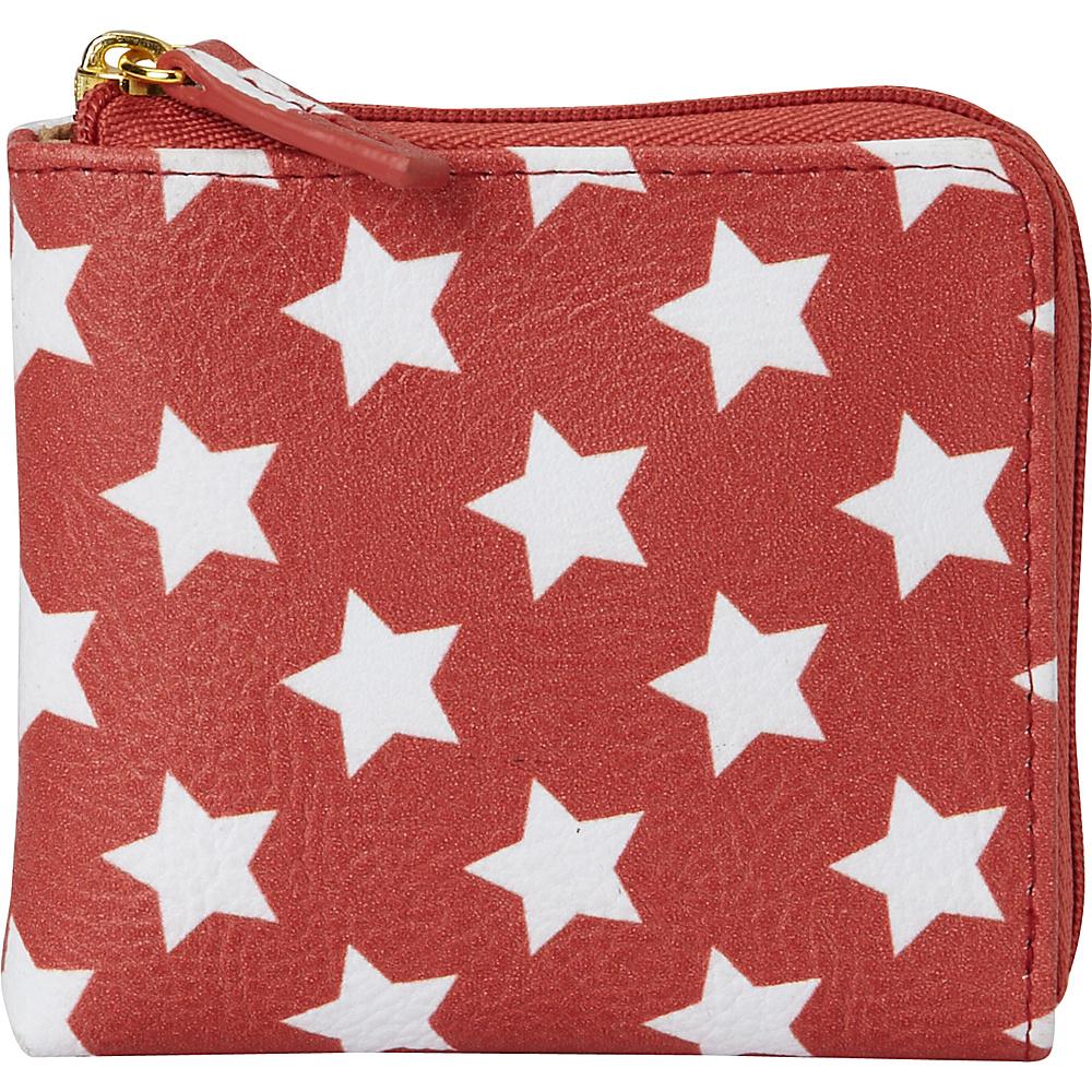 Buxton Americana Pik-Me-Up Mini L-Zip Red Star - Buxton Womens Wallets - Women's SLG, Women's Wallets