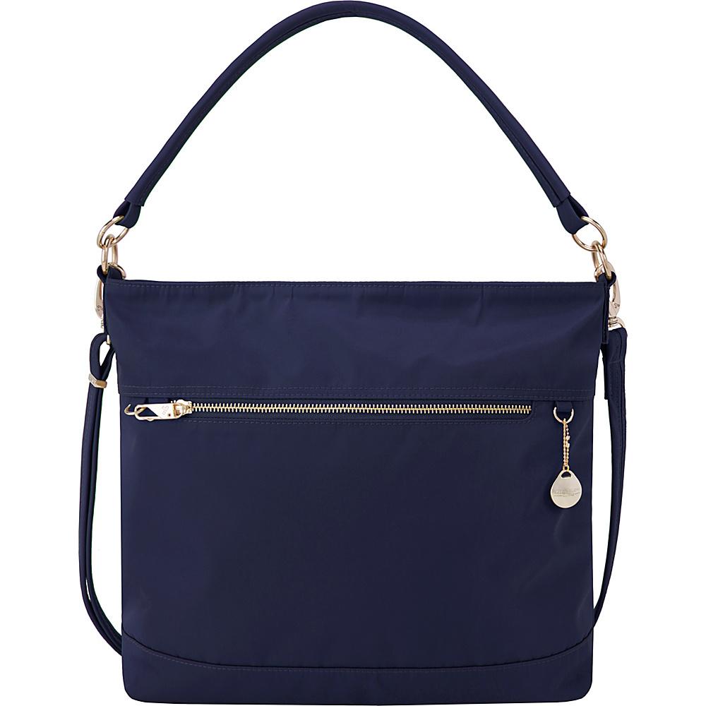Travelon Anti-Theft Tailored Tote Sapphire/Dove Gray Interior - Travelon Fabric Handbags - Handbags, Fabric Handbags