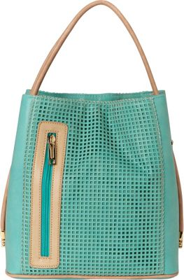 Samoe Classic Convertible Handbag - Perforated Turquoise Perforated - Samoe Manmade Handbags
