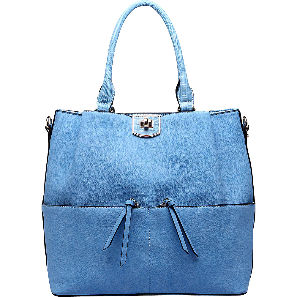 MKF Collection Paris Shoulder Tote Bag Blue - MKF Collection Manmade Handbags - Handbags, Manmade Handbags