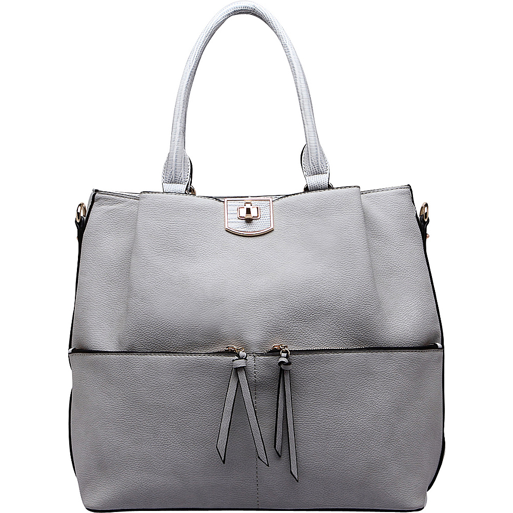 MKF Collection Paris Shoulder Tote Bag Grey - MKF Collection Manmade Handbags - Handbags, Manmade Handbags